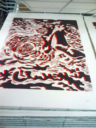 linocut red layer